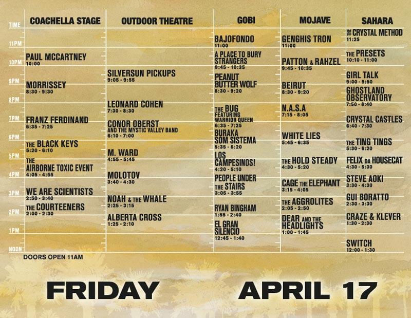 coachellafri Coachella offers up 09 schedule