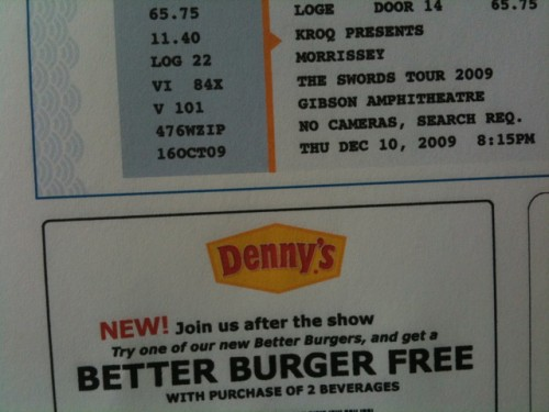 morrisseyburg Get a free burger... when you buy Morrissey tickets!