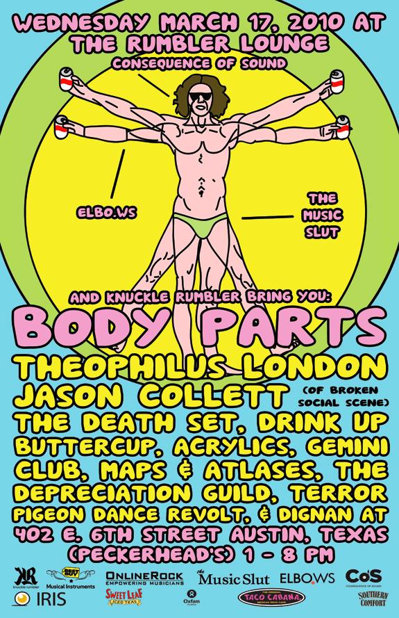 body parts leonardo web final CoS + Elbo.ws + Music Slut announce SXSW Day Party