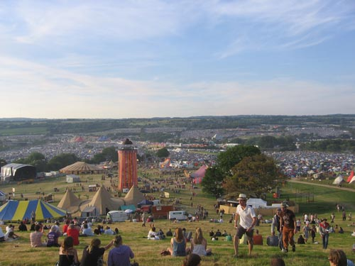 view from top of the park London Calling! CoS arrives at Glastonbury!