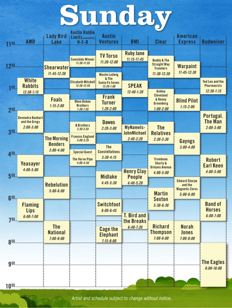 sun 770x1024 Austin City Limits reveals 2010 schedule