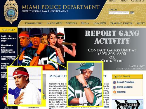 jaygangsta Miami Police Department uses images of Jay Z for anti gang site