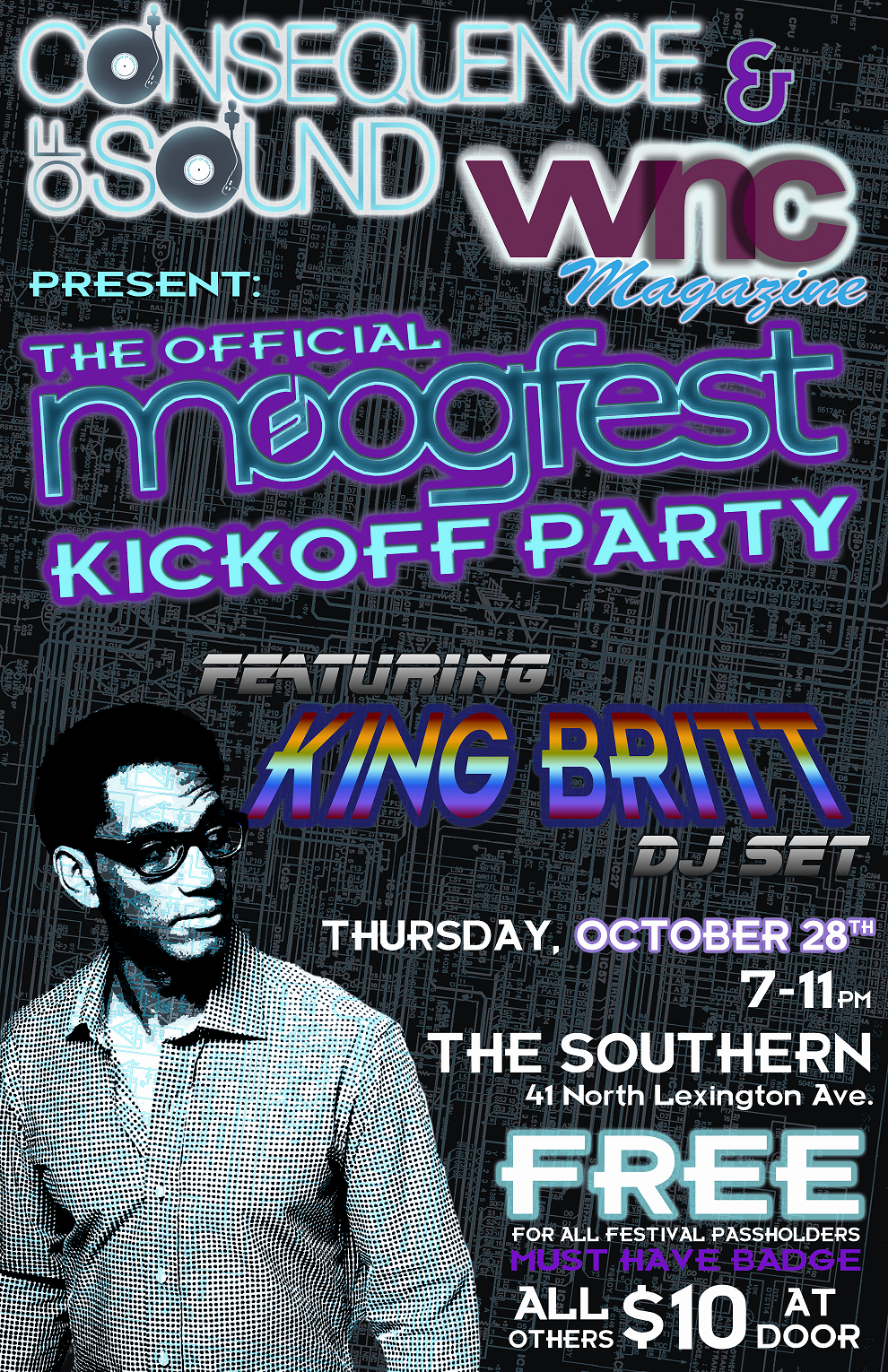 moog party poster color CoS/WNC Magazine Presents: The Official MoogFest Kickoff Party w/ King Britt
