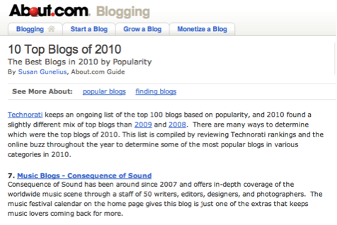 about com cos Consequence of Sound crowned About.coms Top Music Blog of 2010