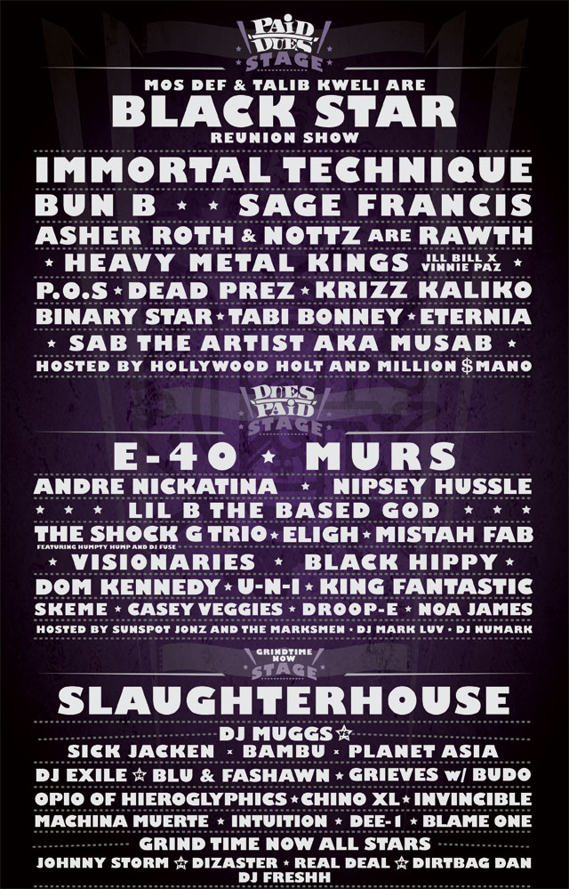 paiddues Paid Dues unveils 2011 lineup