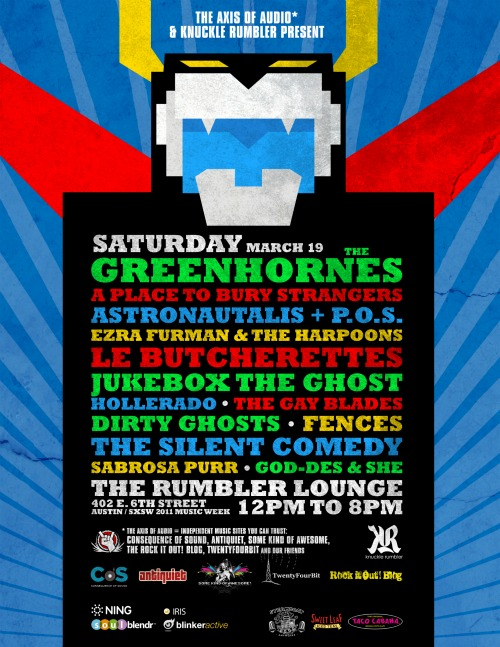 aoa sxsw march 19 flyer CoS presents Axis of Audios Austin day party w/ Greenhornes, A Place to Bury Strangers, P.O.S. & Astronautalis, & more!