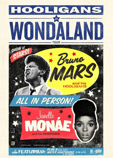 "hooligans in wondaland Janelle Monáe & Bruno Mars team up for ""Hooligans in Wondaland tour"
