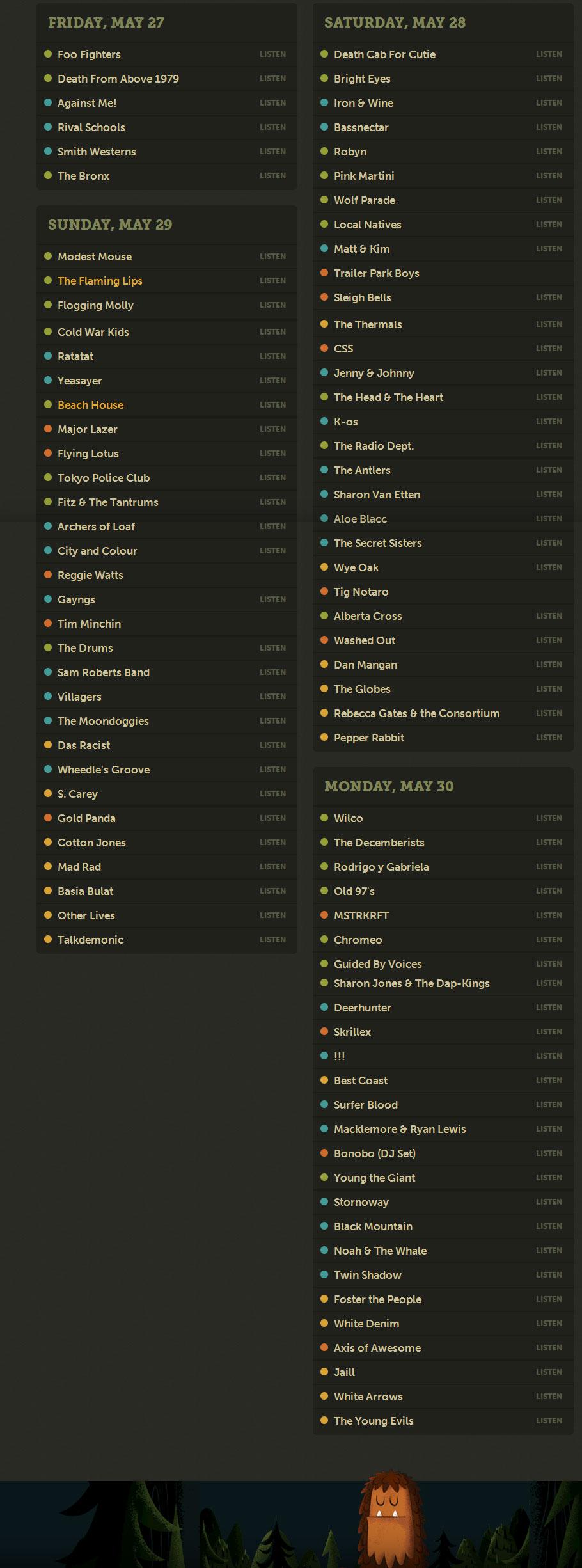 sasquatch 2011 schedule Foo Fighters, Death Cab For Cutie, Wilco head Sasquatch! 2011