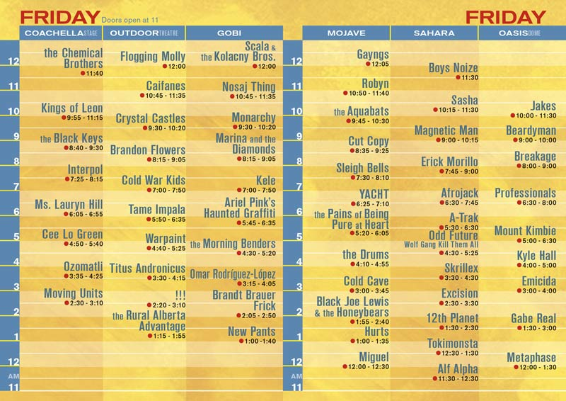 coachella friday Coachella reveals 2011 schedule