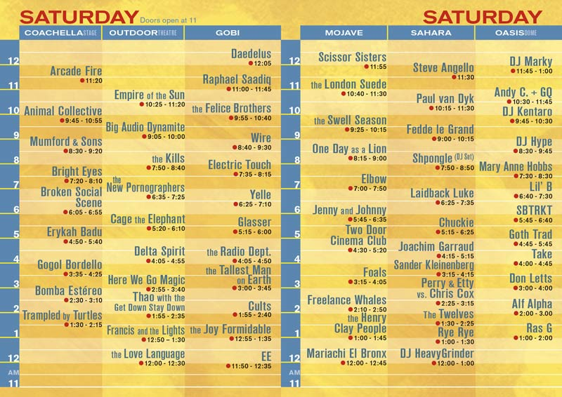 coachella saturday Coachella reveals 2011 schedule