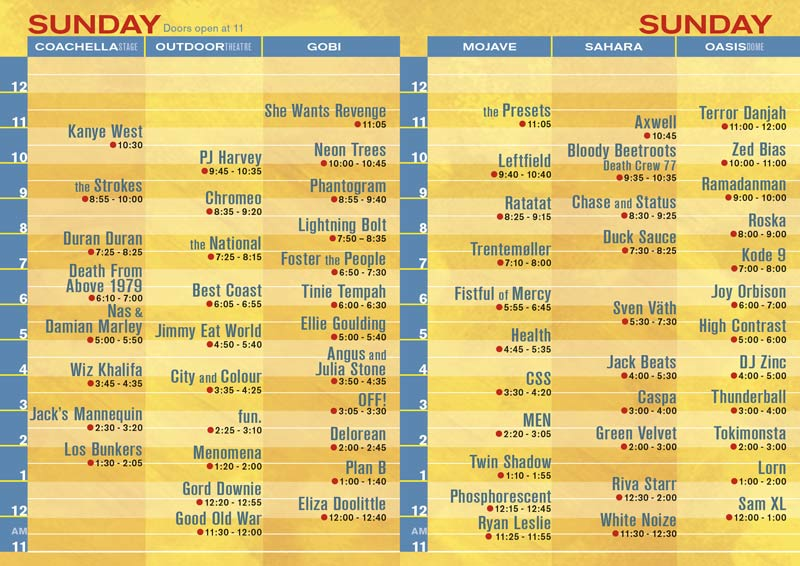 coachella sunday Coachella reveals 2011 schedule