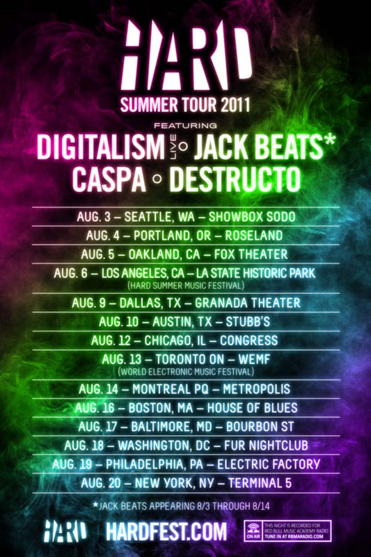 hard summer tour 2011 533 Digitialism, Jack Beats, Caspa hit the road for HARD Summer Tour 2011