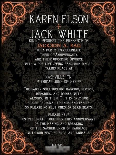divorce party Jack White and Karen Elson split up