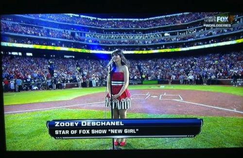 zooey deschanel baseball Video: Zooey Deschanel sings The National Anthem at World Series