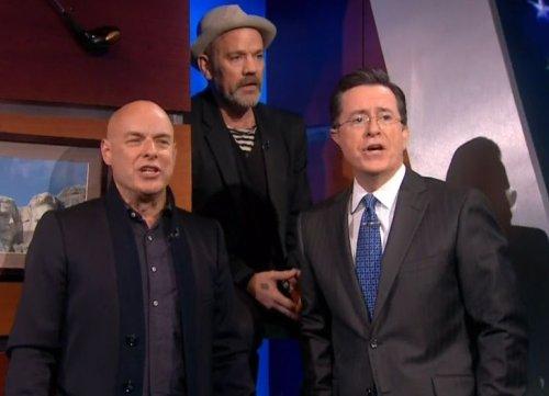 enostipecolbert Video: Brian Eno and Michael Stipe visit The Colbert Report