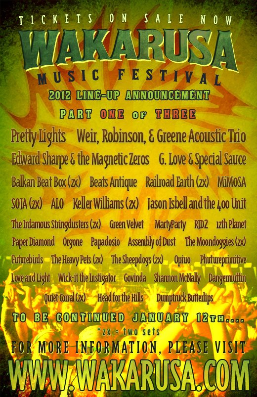 wakarusa 2012 phase 1 Pretty Lights, Edward Sharpe & the Magnetic Zeros confirmed for Wakarusa 2012
