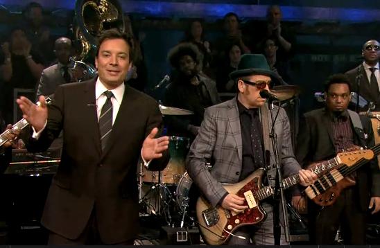 costellofallon Video: Elvis Costello covers Springsteens Brilliant Disguise & Fire on Fallon