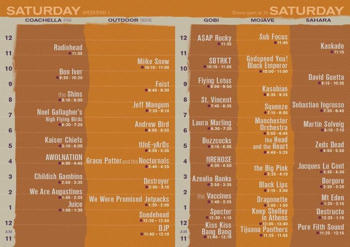 coachella 2012 saturday Coachella 2012 reveals set times