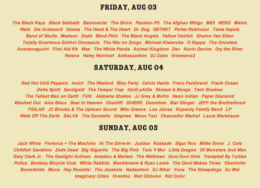 lolla 2012 daily Lollapalooza 2012 reveals daily lineup, single day tickets now available