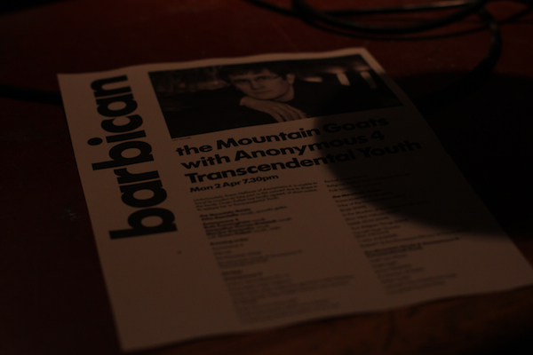 mountaingoats 3 Live Review: The Mountain Goats with Anonymous 4, Owen Pallett at Londons Barbican Theatre (4/2)
