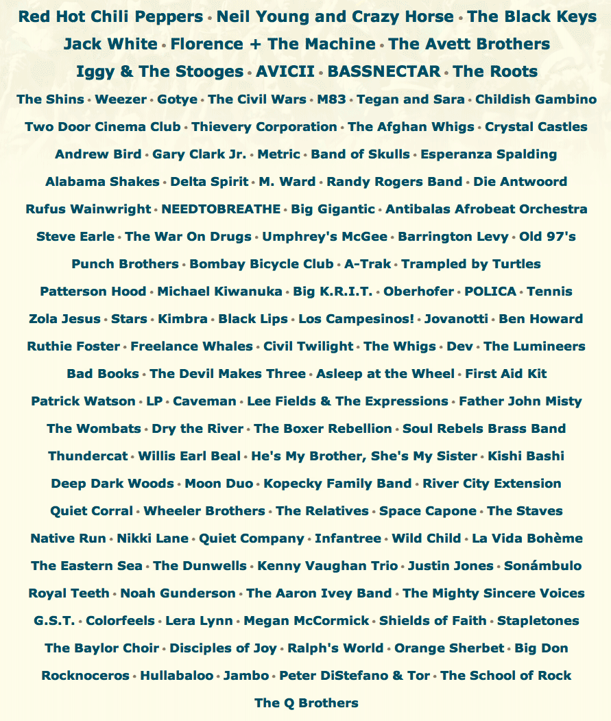 acl 2012 lineup Question of the Day: Your Favorite Big Four Lineup of 2012?
