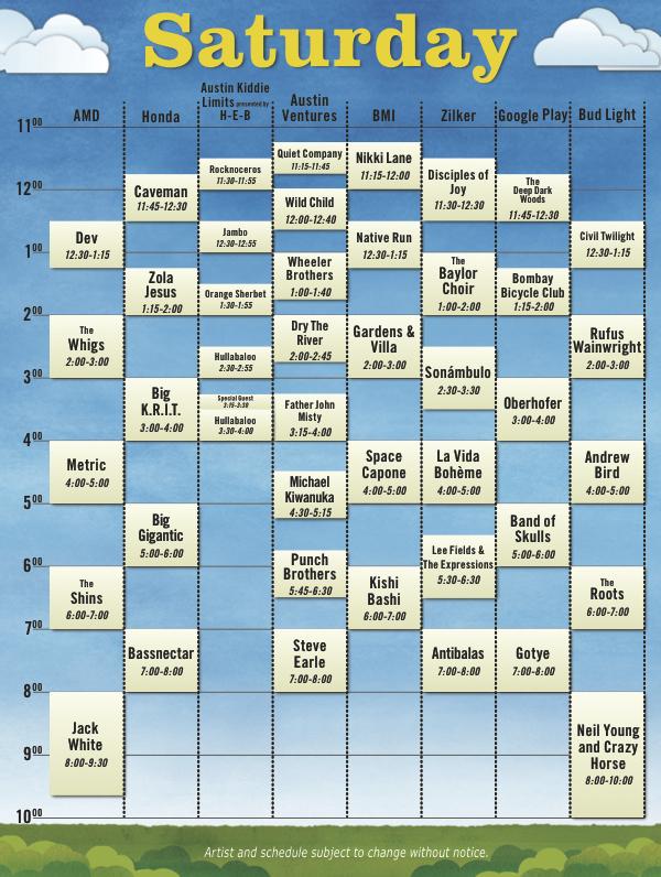 acl12 schedule sat Austin City Limits reveals 2012 schedule