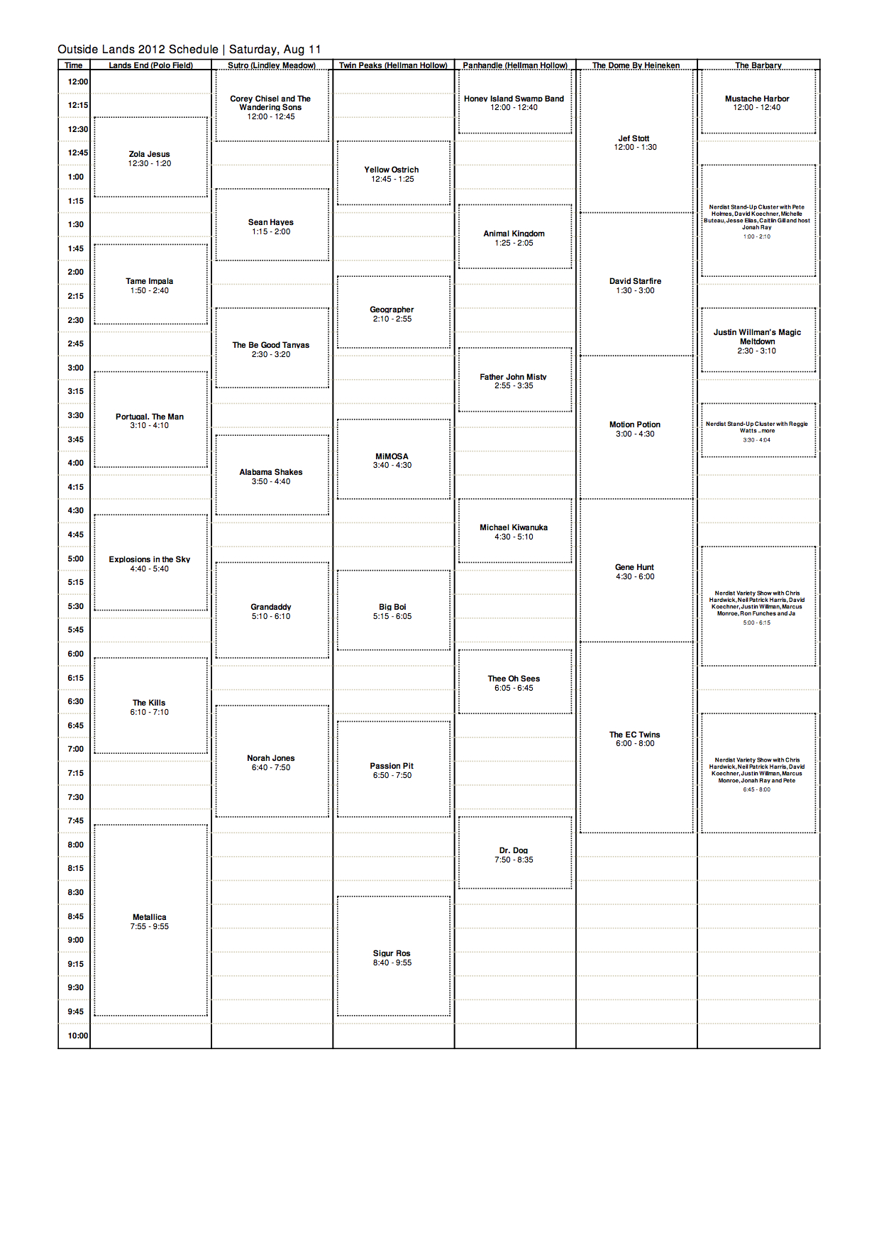 osl 2012 sat Outside Lands reveals 2012 schedule