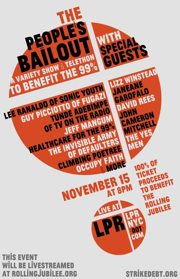 peoplesbailout Webcast: Occupy Wall St. telethon feat. Jeff Mangum, TV on the Radio, Das Racist