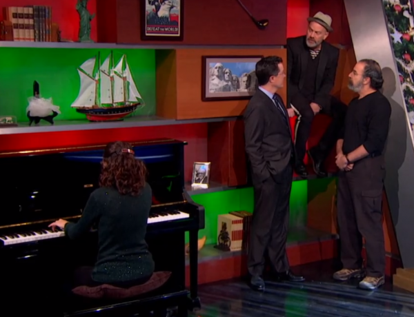 screen shot 2012 12 13 at 7.57.15 am e1355407118125 Watch Michael Stipe, Mandy Patinkin, and Stephen Colbert sing Good King Wenceslas