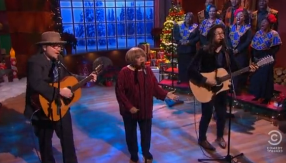 screen shot 2012 12 14 at 1.14.22 am e1355469356322 Watch Jeff Tweedy, Mavis Staples, and Sean Lennon perform Happy Xmas (War Is Over)