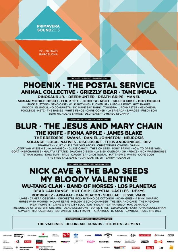 primavera sound 2013 poster Primavera Sound 2013 lineup revealed: Blur, My Bloody Valentine, and Wu Tang