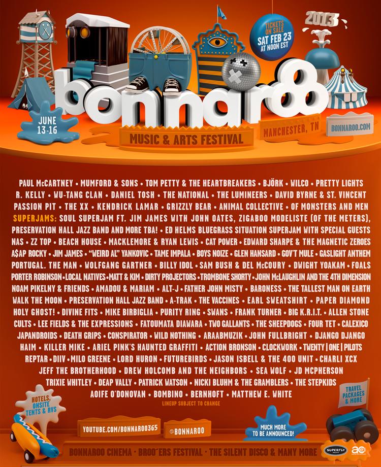 bonnaroo 2013 lineup poster Bonnaroo 2013 lineup revealed
