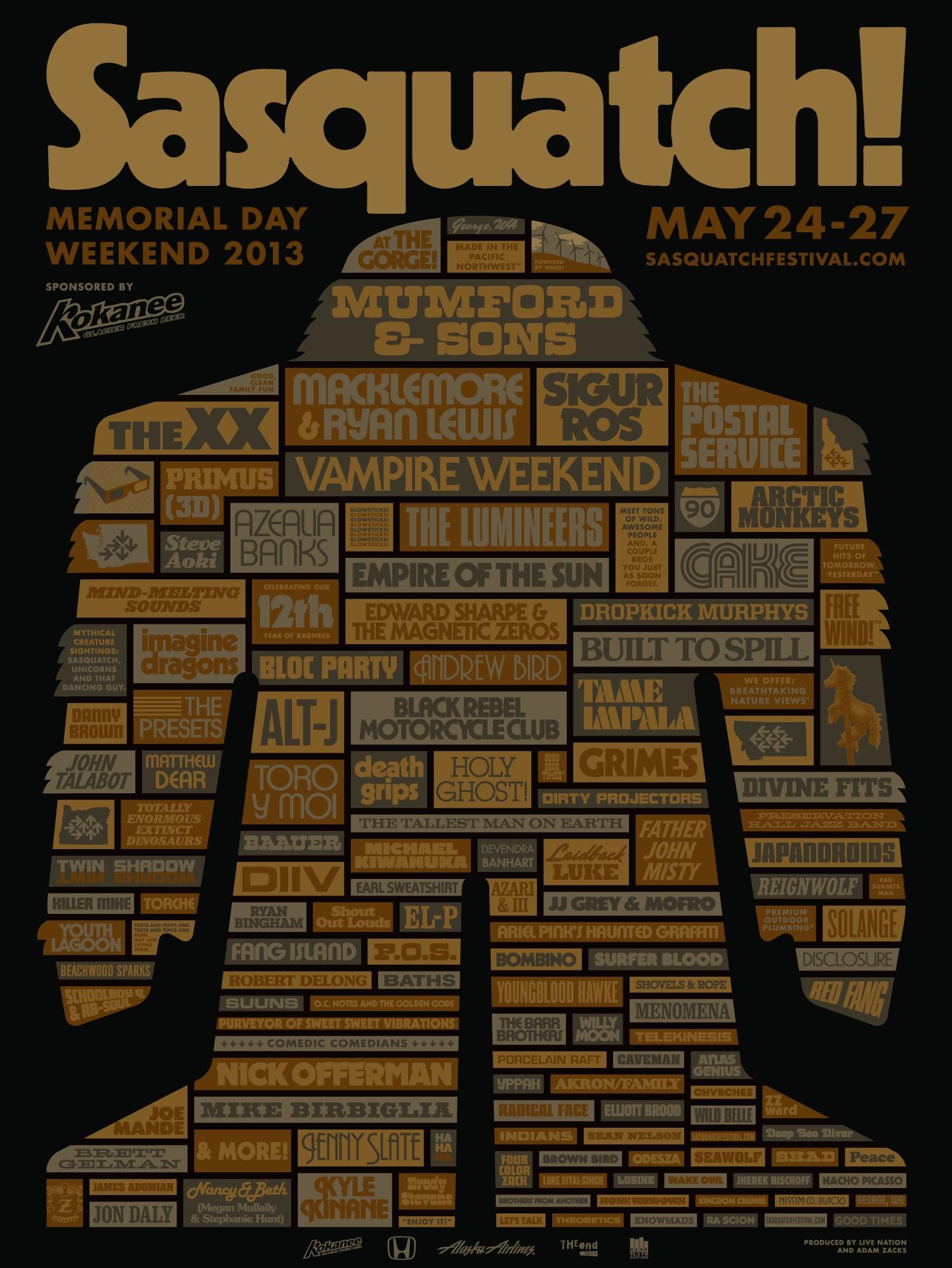sasquatch 2013 poster Sasquatch! 2013 lineup revealed