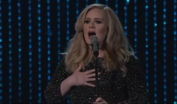 screen shot 2013 02 24 at 10.00.52 pm e1361764914677 Watch Adele return to the stage and perform Skyfall at 2013 Academy Awards