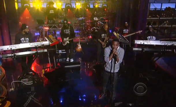 screen shot 2013 02 27 at 7.03.15 am e1361970233875 Watch Kendrick Lamar perform Poetic Justice on David Letterman