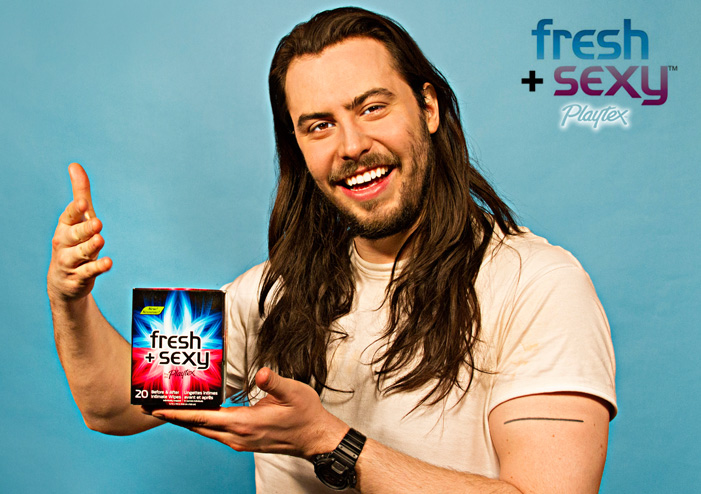 andrewwwipes Yes, Andrew W.K. is the new spokesman for Playtexs Fresh + Sexy wipes