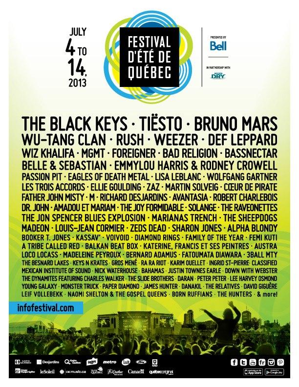 2020 Quebec City Summer Festival.Quebec City Summer Festival 2013 Lineup Revealed