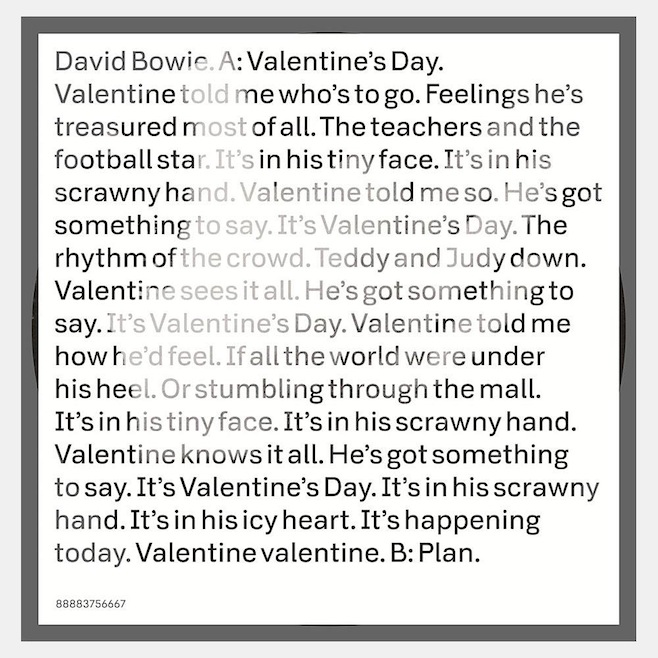 bowievdaysingle Watch David Bowies video for Valentines Day