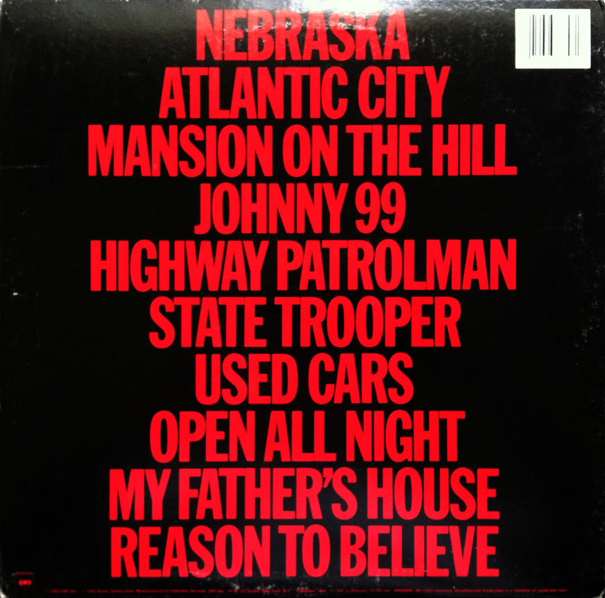 nebraska back Dusting Em Off: Bruce Springsteen   Nebraska