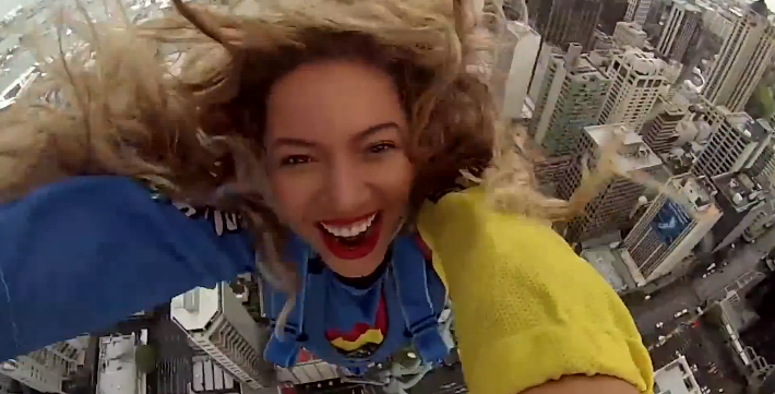 beyonceskyjump Watch Beyoncé base jump 629 feet, remain as pristine as ever
