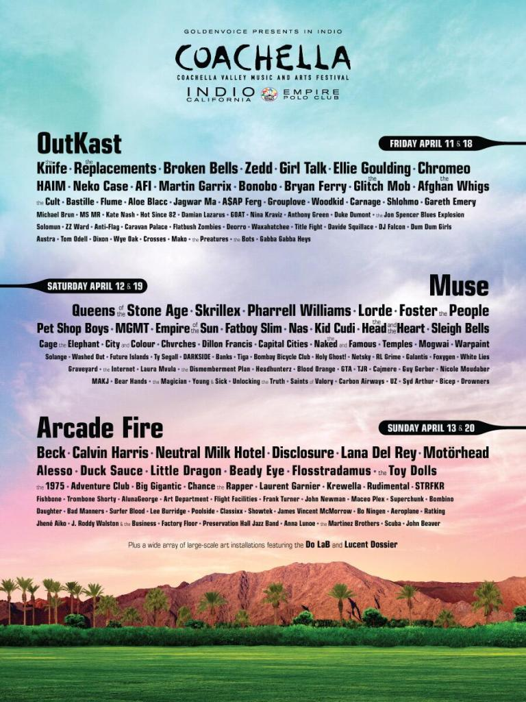 coachella 2014 poster1 Coachella 2014 lineup revealed: Outkast, Arcade Fire, Muse, and Neutral Milk Hotel