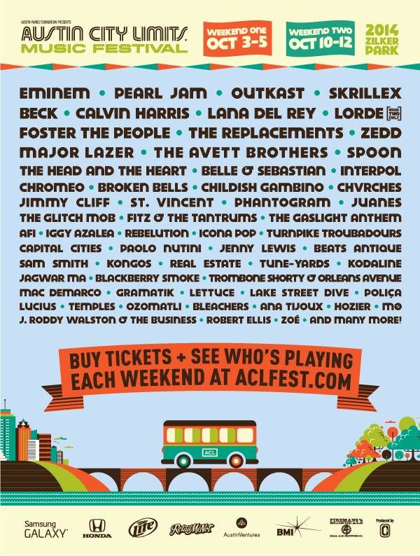 acl lineup 2014