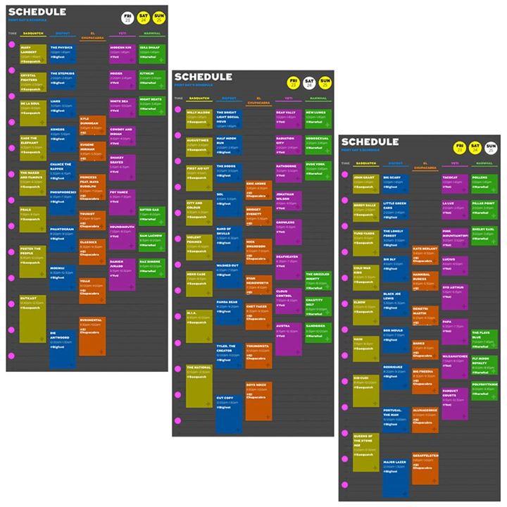 sasquatch schedule 2014