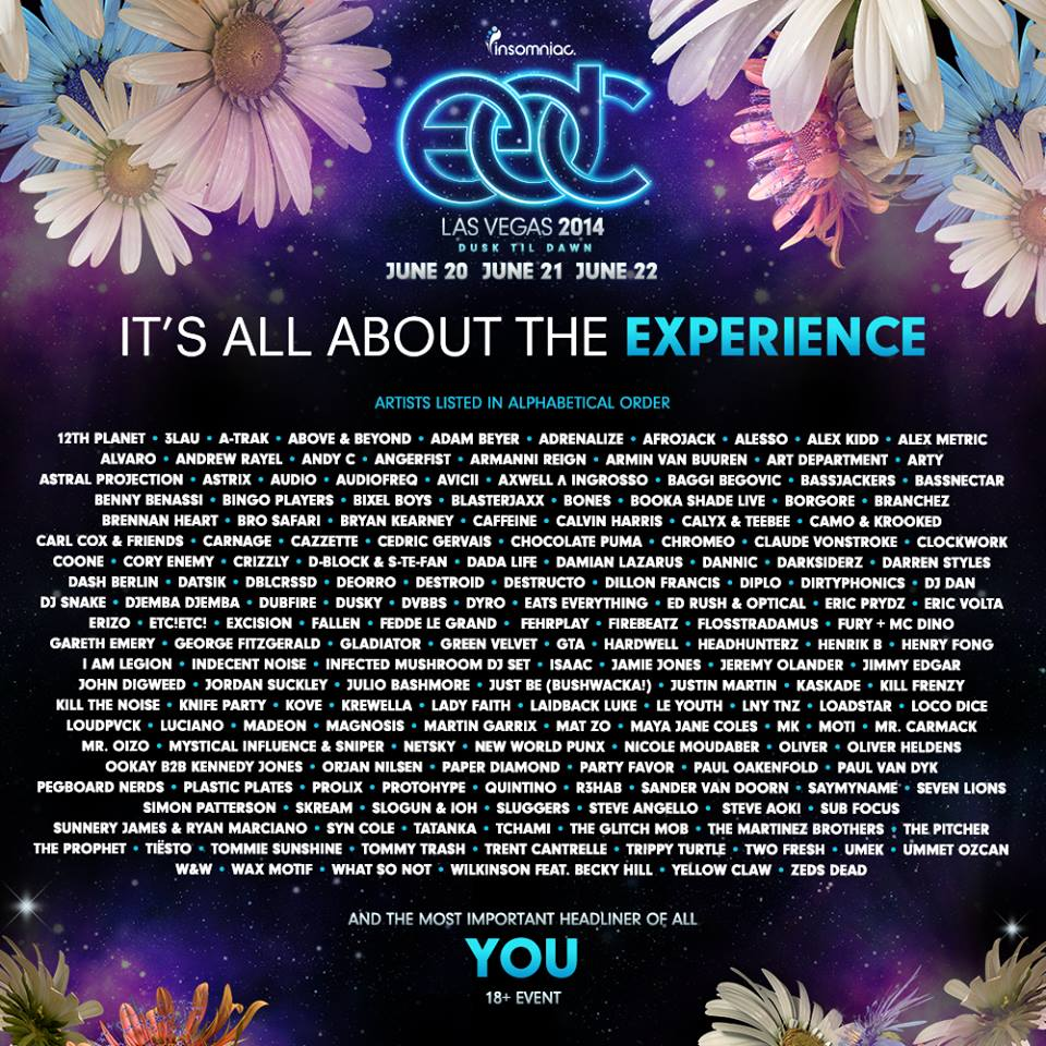 electric daisy carnival 2014 lineup