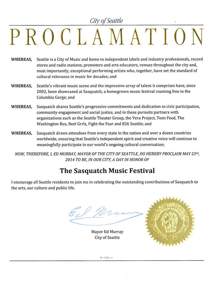 sasquatch proclamation Seattle declares May 23rd as Sasquatch! Music Festival Day