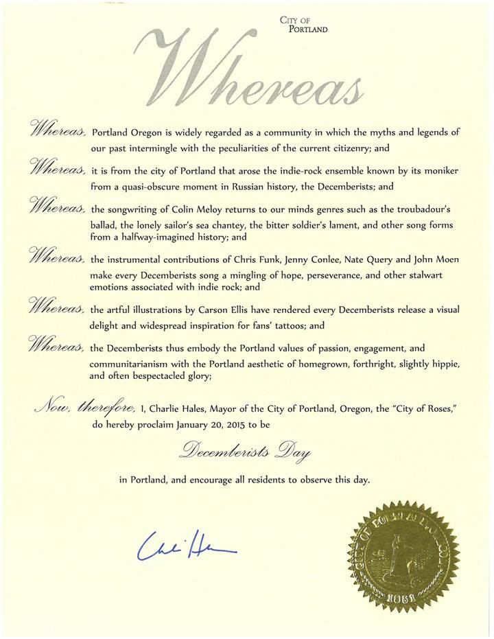 image012 Happy Decemberists Day! Portland, Oregon honors band with its own day
