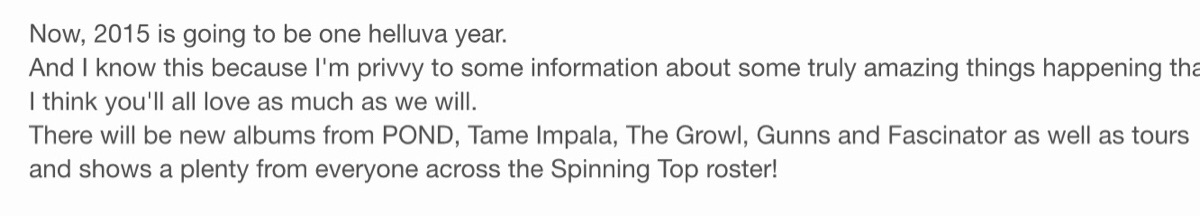 Tame Impala announce new album 2015