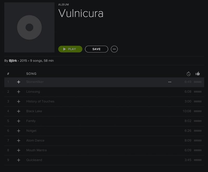 Bjork - vulnicura not on spotify