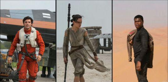 Poe Dameron, Rey, and Finn