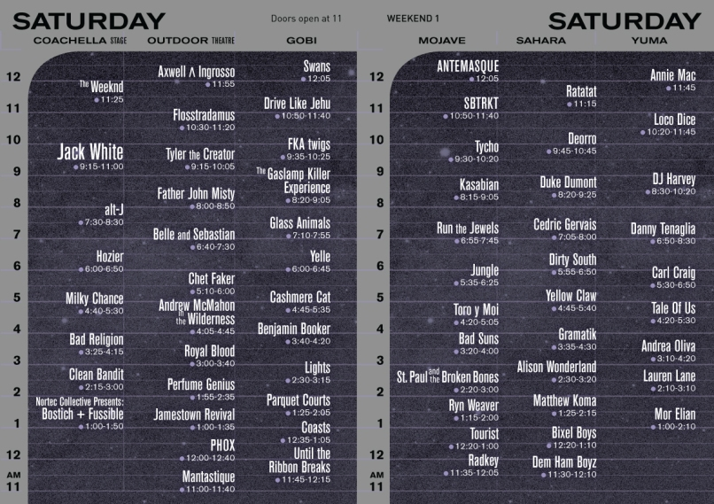 sat schedule Coachella reveals 2015 schedule